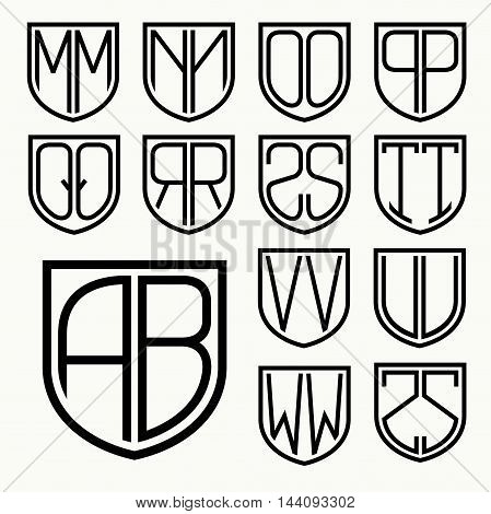 Set 2 of template letters inscribed in the shield for the creation of logos, monograms, emblem