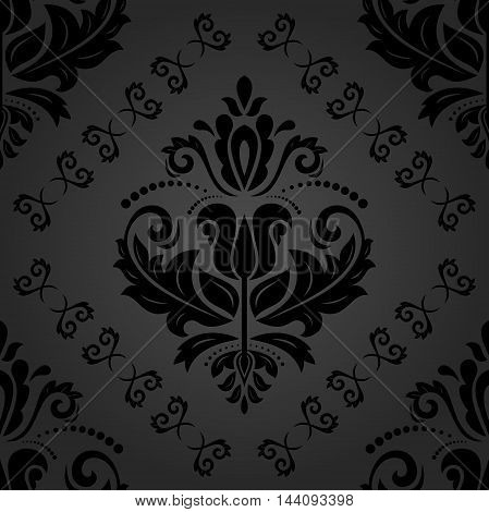 Seamless damask vector dark pattern. Traditional classic orient ornament