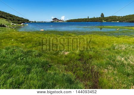 Landscape with Green Grass around Bezbog lake, Pirin Mountain, Bulgaria