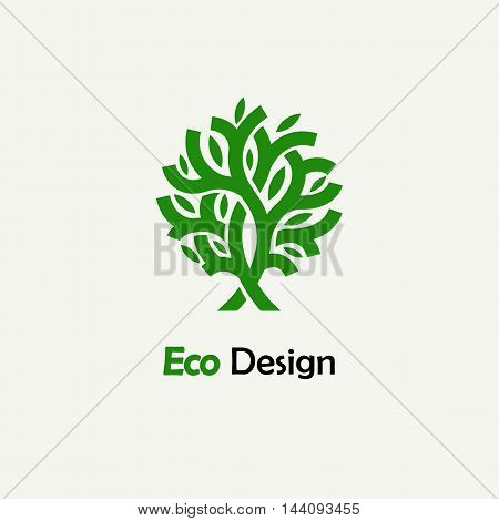 Abstract green tree. Template for creating logos, emblems, monograms.. Plant, nature and ecology