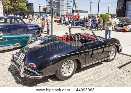 COLOGNE GERMANY - AUG 7 2016: Historic Porsche 356 C cabriolet from ca. 1965 at an exhibition in the city of Cologne Germany