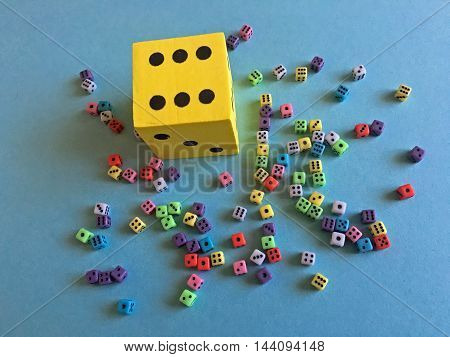 So much dices on the table as background