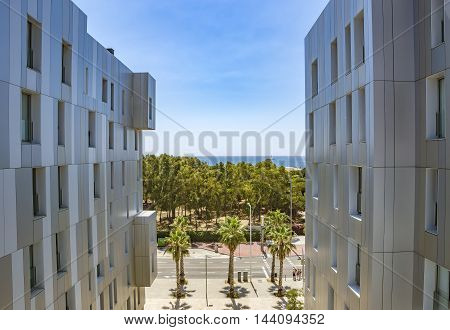 BARCELONA SPAIN - JULY 9 2016: New buildings at Poblenou district Barcelona Spain
