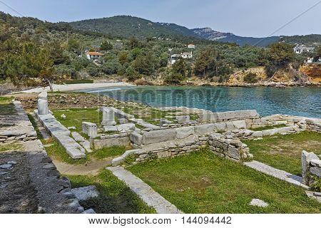 Panorama of Archaeological site of Aliki, Thassos island,  East Macedonia and Thrace, Greece