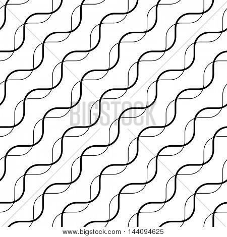 Seamless Wave and Diagonal Stripe Pattern. Black and White Regular Texture. Abstract Minimal Design