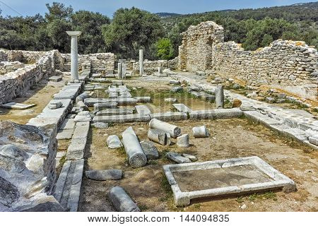 Panoramic view of  ancient church in Archaeological site of Aliki, Thassos island,  East Macedonia and Thrace, Greece