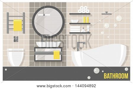 Bathroom modern interior with beige tiles in flat style. Vector illustration about hygiene and home.
