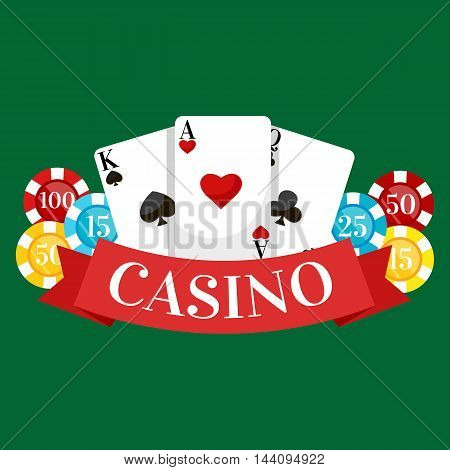 Playing Poker Cards Vector illustration, win gambling casino icon, risk and play poker, isolated cards deck on green background