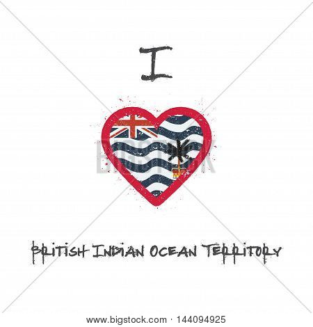 I Love British Indian Ocean Territory T-shirt Design. Indian Flag In The Shape Of Heart On White Bac