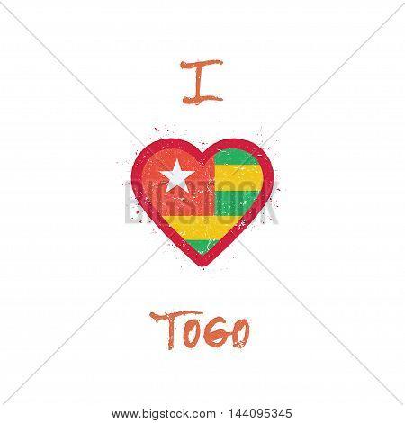 I Love Togo T-shirt Design. Togolese Flag In The Shape Of Heart On White Background. Grunge Vector I