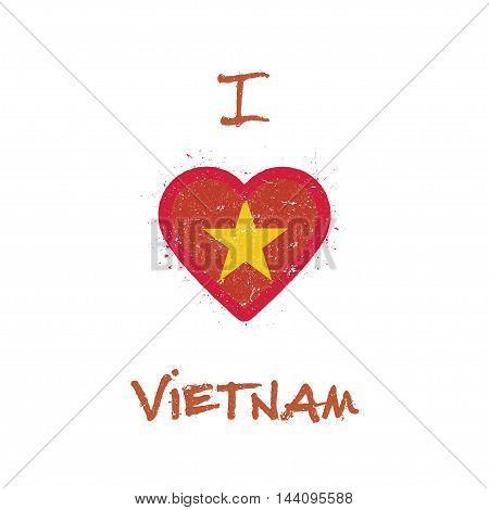 I Love Vietnam T-shirt Design. Vietnamese Flag In The Shape Of Heart On White Background. Grunge Vec