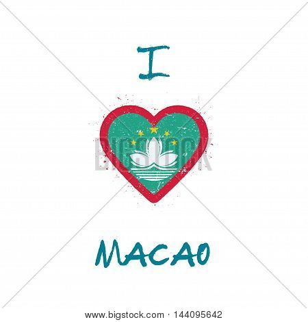 I Love Macao T-shirt Design. Chinese Flag In The Shape Of Heart On White Background. Grunge Vector I