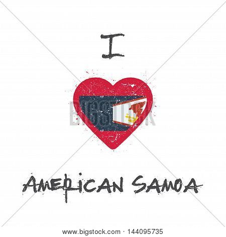 I Love American Samoa T-shirt Design. American Samoan Flag In The Shape Of Heart On White Background