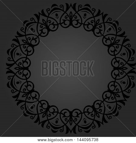 Oriental vector dark round pattern with arabesques and floral elements. Traditional classic ornament