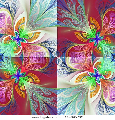 Two-tone flower pattern in stained-glass window style.