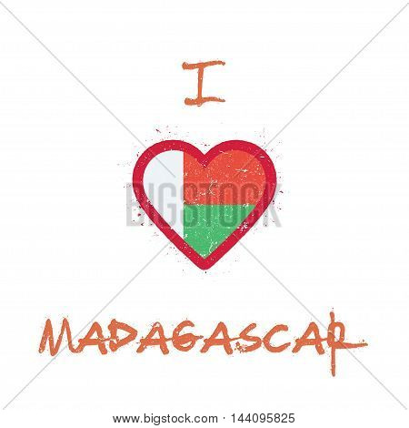 I Love Madagascar T-shirt Design. Malagasy Flag In The Shape Of Heart On White Background. Grunge Ve