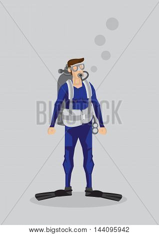 Vector illustration of a scuba diver character in diving suit swimming fins and oxygen tank isolated on plain background.
