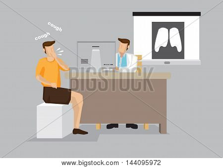 Coughing man at in hospital for doctor consultation with lung X-ray in the background. Vector illustration of doctor and patient for health care concept isolated on grey background.