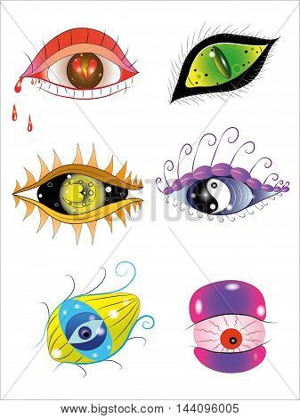 Six fantastic eyes drawn in different style