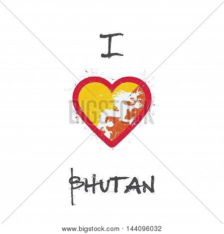 I Love Bhutan T-shirt Design. Bhutanese Flag In The Shape Of Heart On White Background. Grunge Vecto