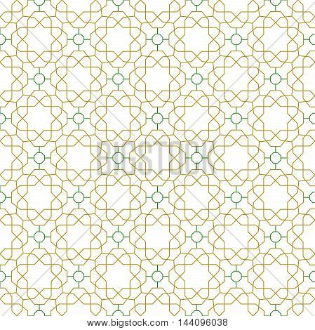 Seamless vector green and golden ornament in arabian style. Pattern for wallpapers and backgrounds