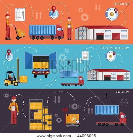 Warehouse management concept flat design vector illustration. Shipment and delivery banners set. Warehouse process infographics. Porter on a truck to ship the goods. Logistic concept. Warehouse process icons. Logistics management. Logistic transport.