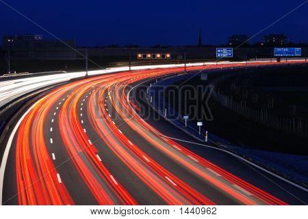 Autobahn To Munich At Night