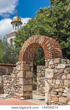 Amazing view of Ancient Sozopol ruins and the church of St. George, Bulgaria