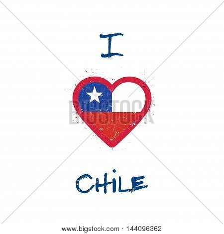 I Love Chile T-shirt Design. Chilean Flag In The Shape Of Heart On White Background. Grunge Vector I