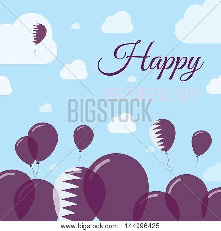 Qatar Independence Day Flat Patriotic Design. Qatari Flag Balloons. Happy National Day Vector Card.