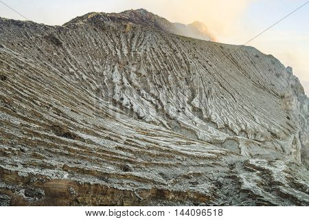 Dry cracked stone ground on Kawah Ijen volcano, Indonesia