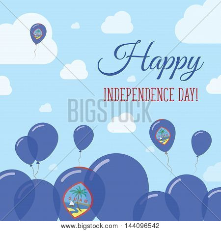 Guam Independence Day Flat Patriotic Design. Guamanian Flag Balloons. Happy National Day Vector Card
