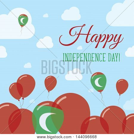 Maldives Independence Day Flat Patriotic Design. Maldivan Flag Balloons. Happy National Day Vector C