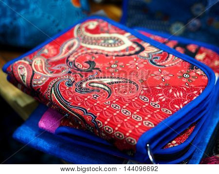 Red handbag - wallet - case with blue edge, Thailand style