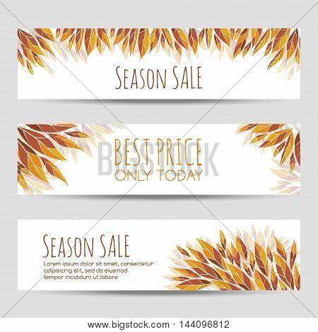 Set of vector headers, banners with autumn leaves. Autumn sale headers template