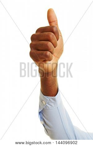 African hand holding the thumb up