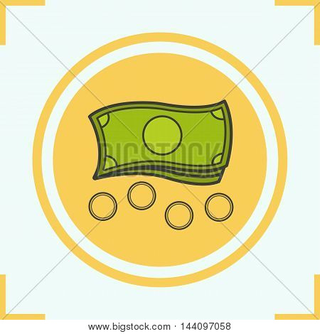 Money color icon. Banknotes and coins. Cash vector isolated illustration