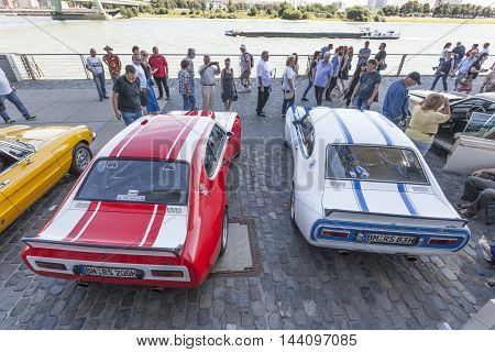COLOGNE GERMANY - AUG 7 2016: Historic Ford Capri RS at the Rhine promenade exhibition in the city of Cologne Germany