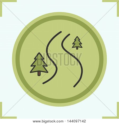 Winding country road color icon. Forest path with fir trees. Off road green sign. Vector isolated illustration