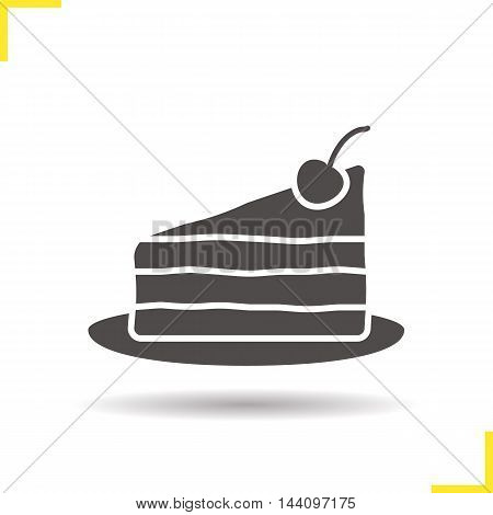 Cake on plate with cherry icon. Drop shadow silhouette symbol. Negative space. Vector isolated illustration
