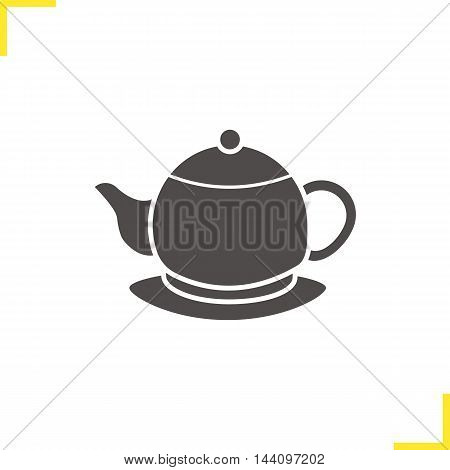 Teapot on plate icon. Drop shadow silhouette symbol. Negative space. Tea pot vector isolated illustration