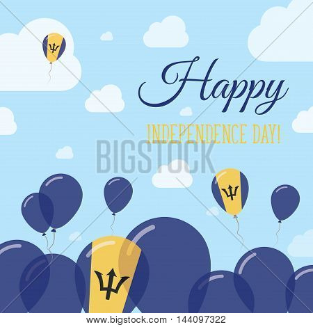 Barbados Independence Day Flat Patriotic Design. Barbadian Flag Balloons. Happy National Day Vector