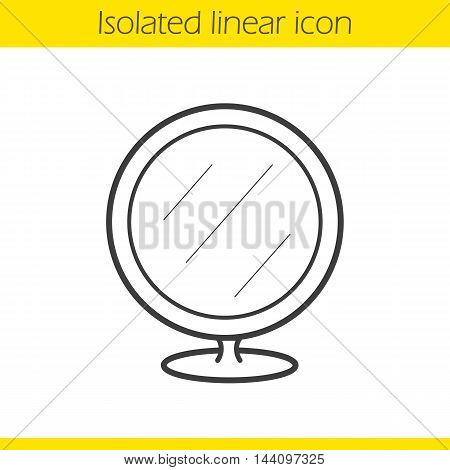 Shaving mirror linear icon. Thin line illustration. Bathroom portable round mirror. Contour symbol. Vector isolated outline drawing
