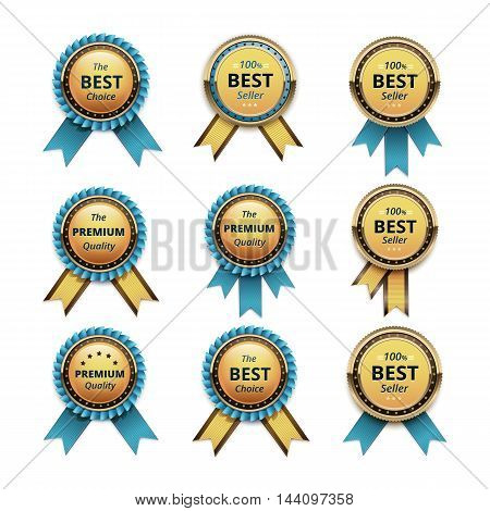 Vector Set of Top Quality Guarantee Golden labels with Light Blue Azure Turquoise Ribbons Close up Isolated on White Background