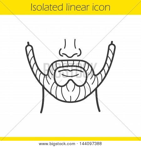 Beard linear icon. Thin line illustration. Men's facial hair. Contour symbol. Vector isolated outline drawing