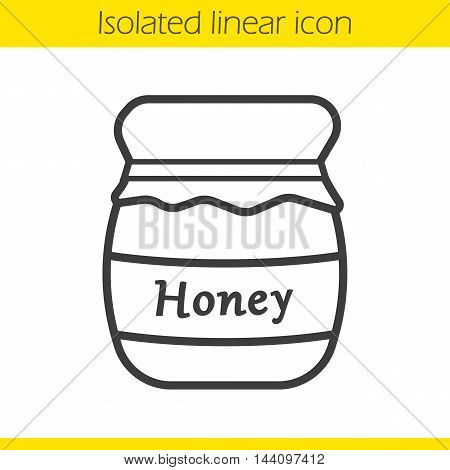Honey jar linear icon. Thin line illustration. Honey pot contour symbol. Vector isolated outline drawing