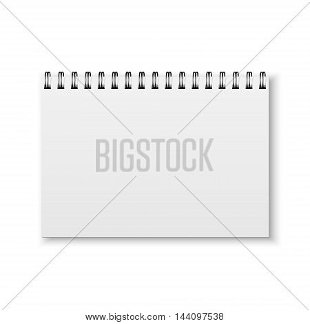 Blank realistic spiral notebook isolated on a white background. Vector EPS10 illustration.