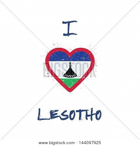 I Love Lesotho T-shirt Design. Mosotho Flag In The Shape Of Heart On White Background. Grunge Vector