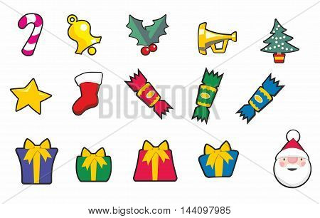Set of Christmas cartoon icons including crackers presents trumpet tree bell star and santa.