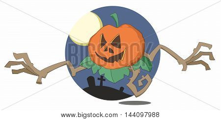 Halloween pumpkin monster reaches out with twisted root arms from circular cartoon graveyard background with moon